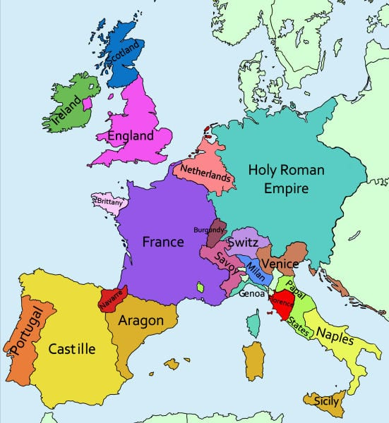King Henry VII's foreign policy Map of Europe