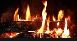Yule log in the fireplace